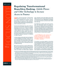 Regulating Transformational Branchless Banking: Mobile Phones and Other Technology...