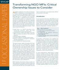 Occasional Paper 13: Transforming NGO MFIs: Critical Ownership Issues to Consider