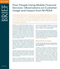 Poor People Using Mobile Financial Services: Observations on Customer Usage and Impact from M-PESA