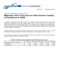 Migrants sent 32 bn euro to their former country of residence in 2008