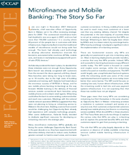 FocusNote 62: Microfinance and Mobile Banking: The Story So Far