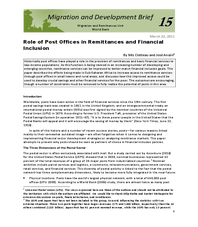 Migration and Development Brief 15: Role of Post Offices in Remittances and Financial Inclusion
