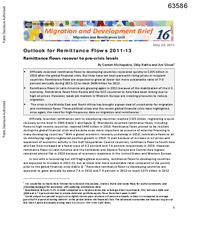 Migration and Development Brief 16: Outlook for Remittance Flows 2011-2013