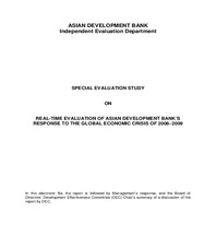 Real-time Evaluation of Asian Development Bank's Response to the Global Economic Crisis of 2008–2009